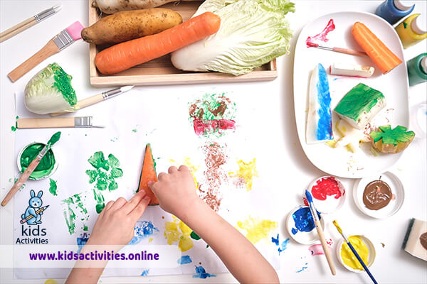 Montessori color sorting activities - coloring by vegetables