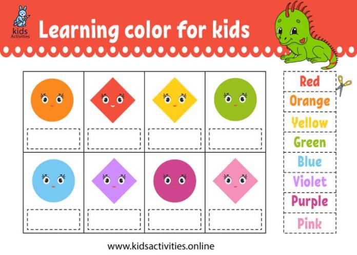 shapes worksheets - match colors worksheets