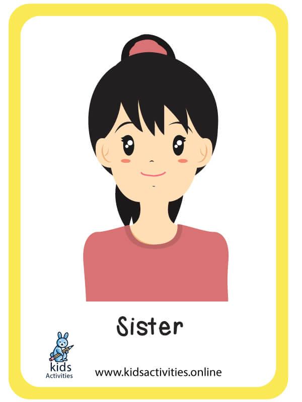sister - preschool family members flashcards