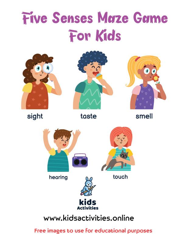 Printable Five senses maze worksheet kindergarten