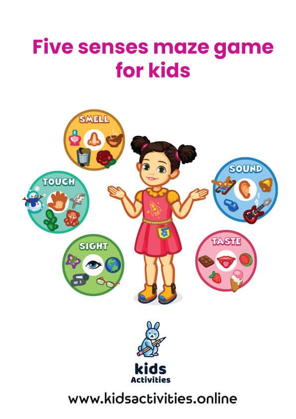Five senses maze game for kids