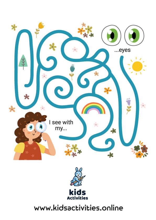 Free printable mazes for kindergarten - five senses maze game for kids