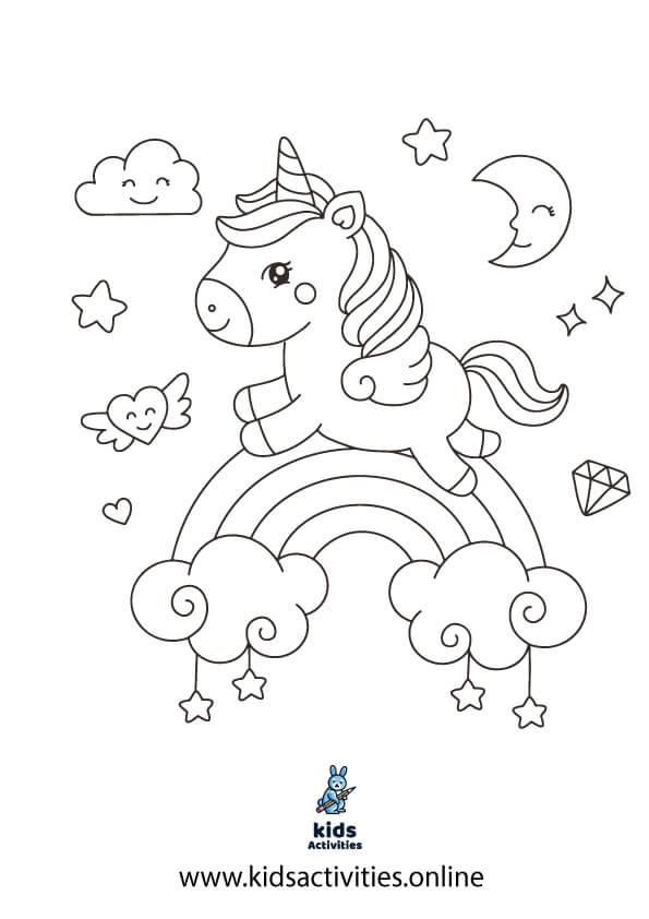 Free printable rainbow and unicorn coloring pages
