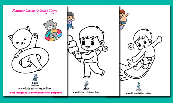 Free Printable Summer kawaii Coloring Pages For Kids