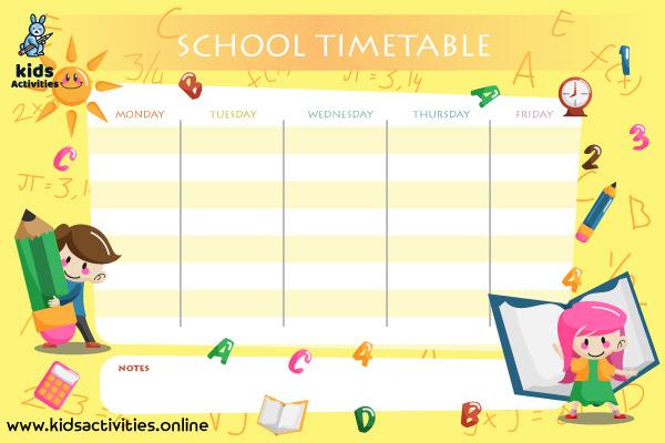 Schedule for school template PDF