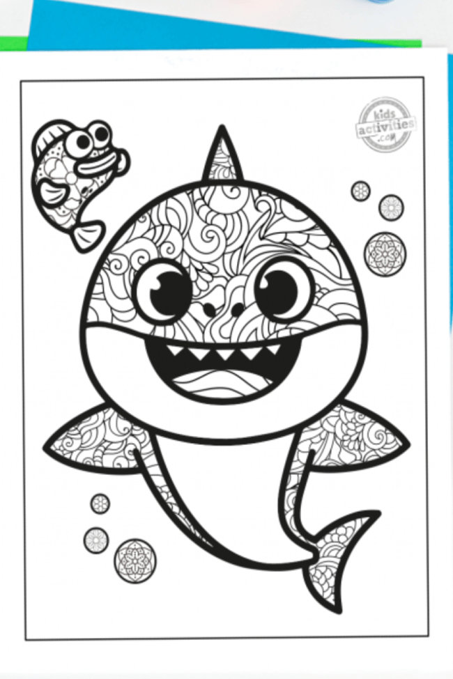 Black And White Baby Shark : black, white, shark, Shark, Zentangle, Coloring