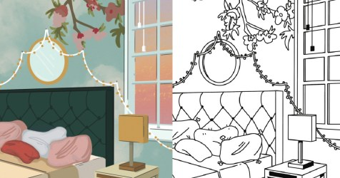 8 Free Adult Coloring Pages Inspired from Modern Interior Design