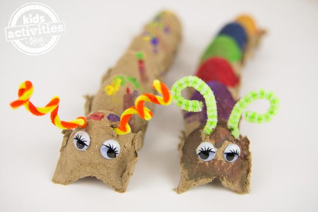Caterpillar Craft egg carton for kids to make