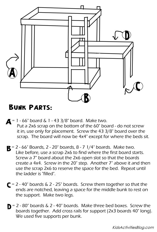 Triple Bunk Bed Plans