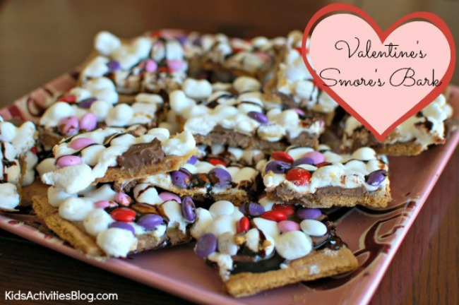 Easy Valentines day recipe for kids - Valentine's Smores Bark