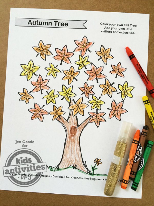 fall tree coloring page # 23