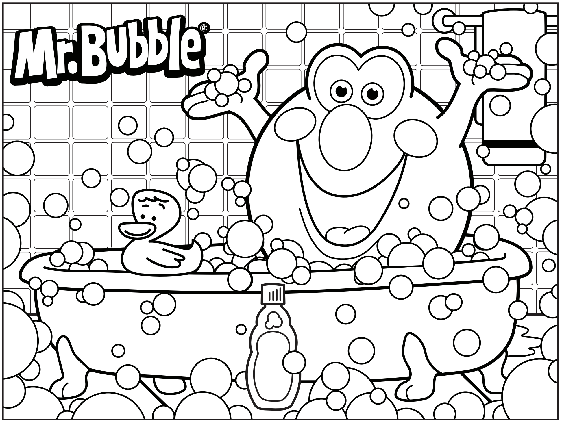Bath Time 3D Coloring Pages