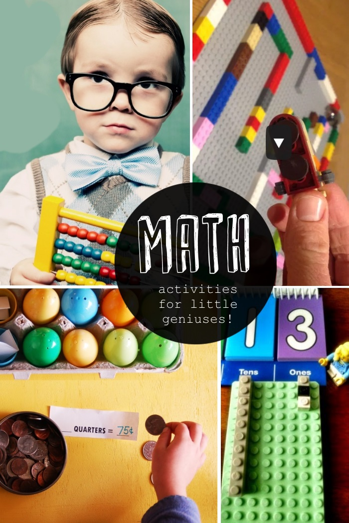 Fun Math games and math activities for kids - activities for little geniuses showing 4 different fun math games kids can play together