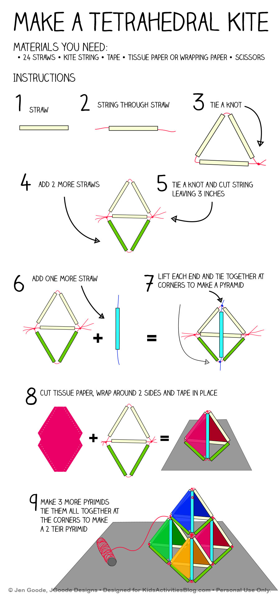 Make a Tetrahedral Kite Printable