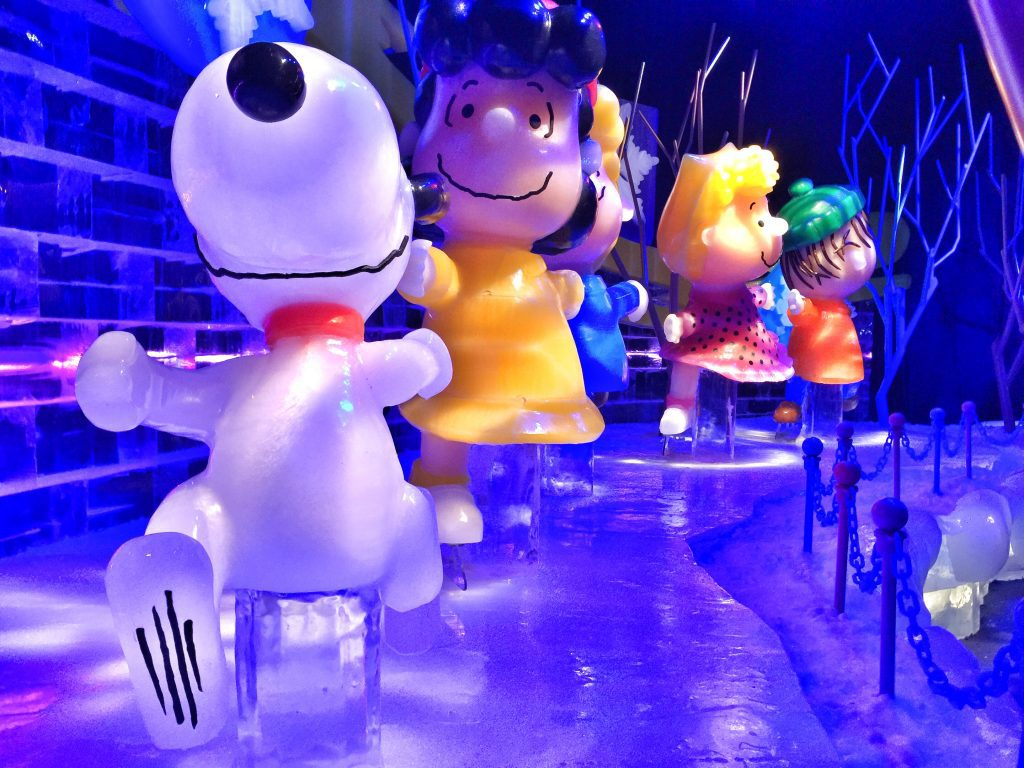 A Charlie Brown Christmas Display Carved Completely Out of Ice