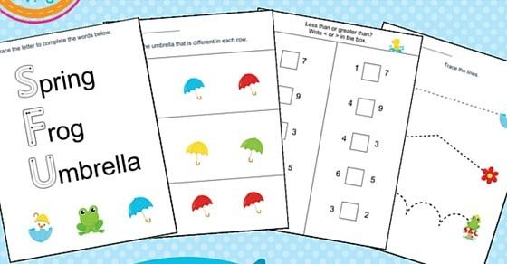 Spring Printable Kindergarten Worksheet Pack For Home Or