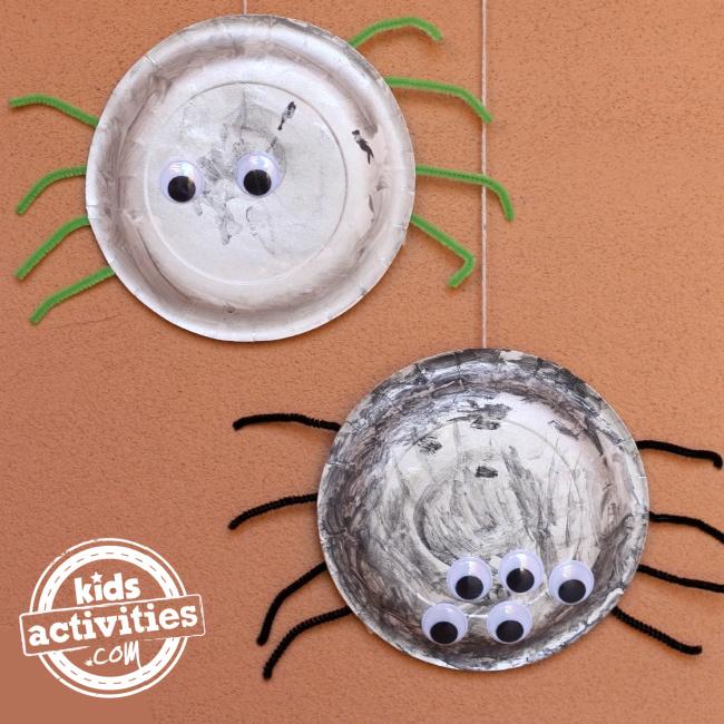 Halloween paper plate spiders from Kids Activities Blog
