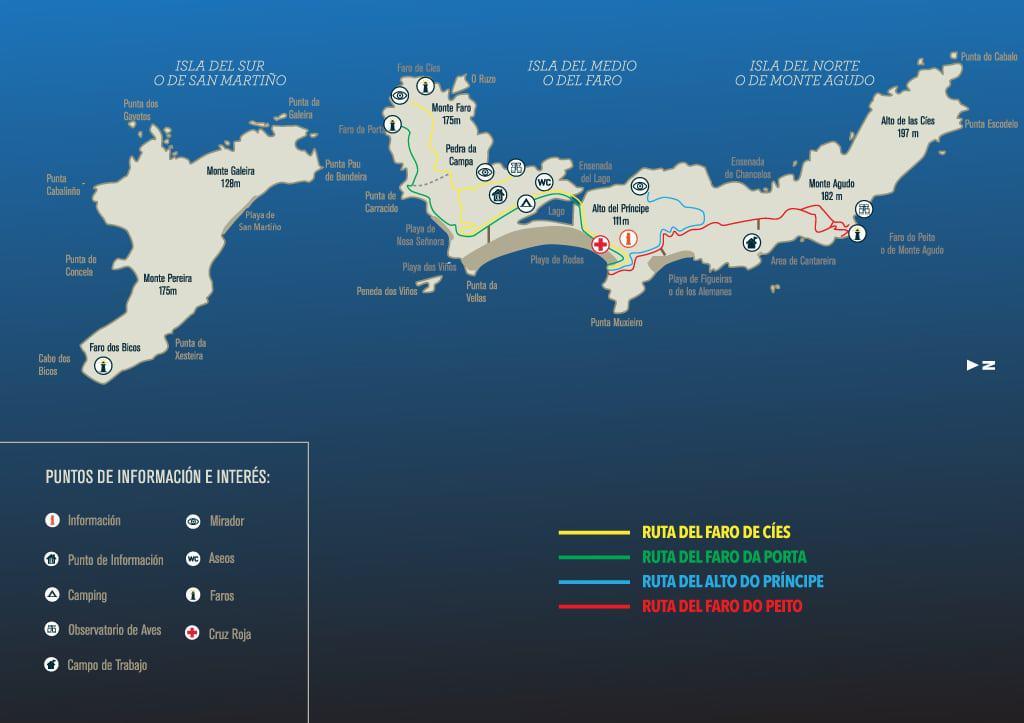 Galicja co zobaczyć - Wyspy Cies - mapa