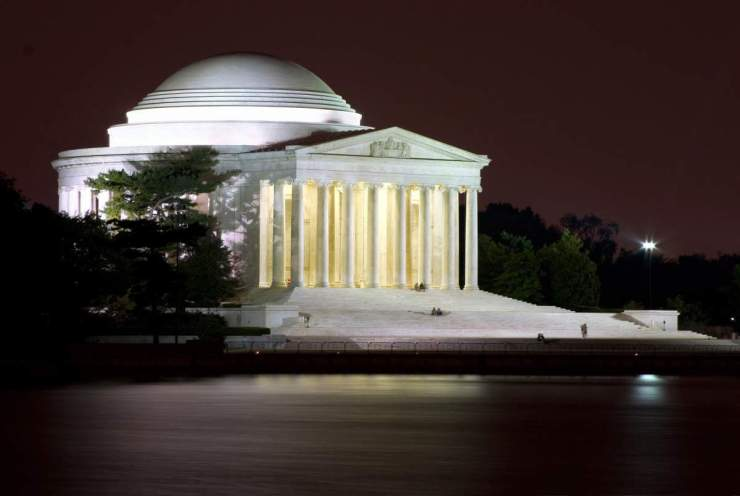 Favorite things to see and do in Washington, D.C. with kids visit Jefferson Memorial at Night-Kids Are A Trip