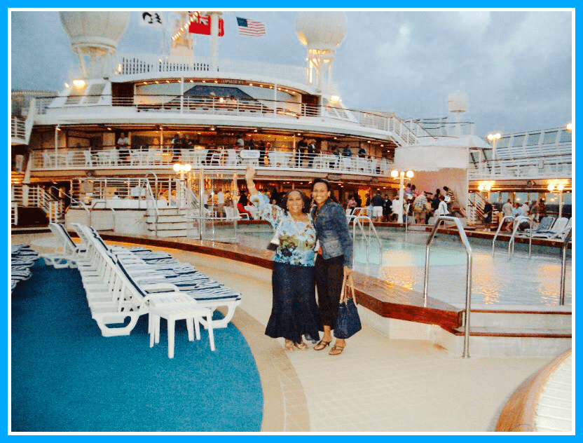 Nadeen with her mother on the Sun Princess