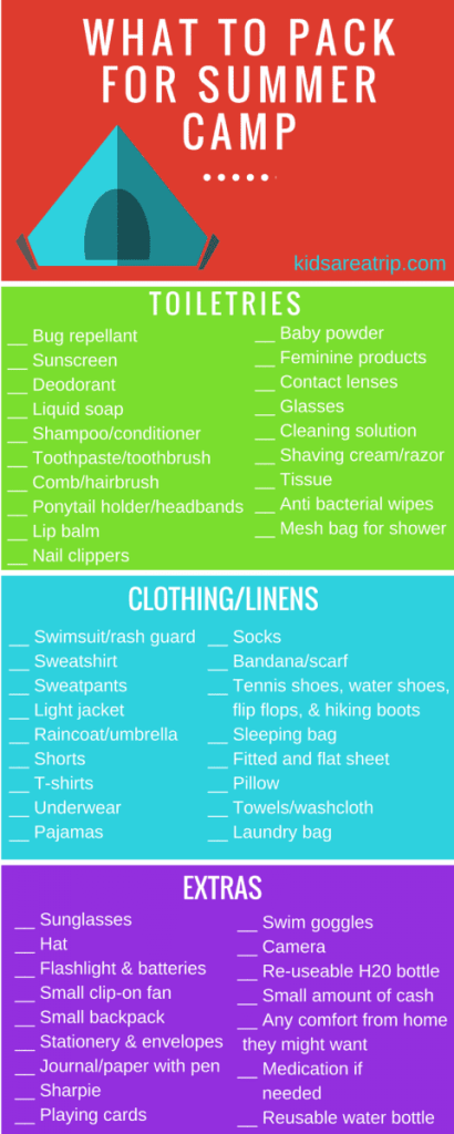 WHAT TO PACK FOR SUMMER CAMP-Kids Are A Trip