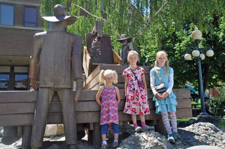 Mining Statue in Helena-Kids Are A Trip
