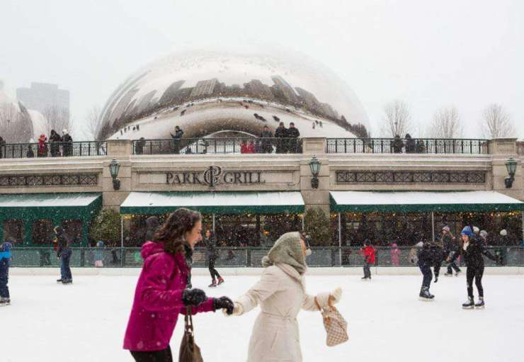 Millennium Park Ice Skating Holidays in Chicago-Kids Are A Trip