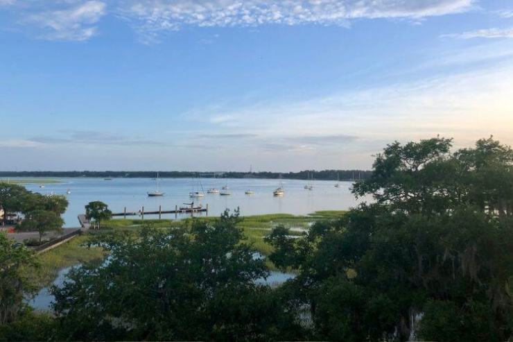Great views of the Beaufort River can be found from the 4th floor open deck at the Anchorage 1770.