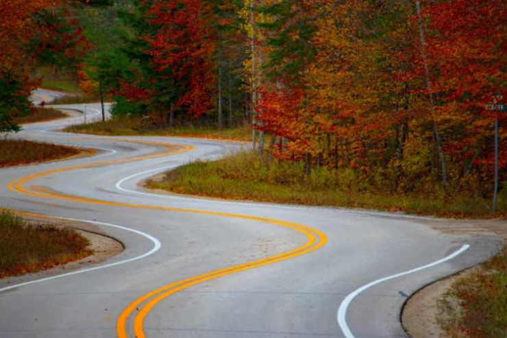 Door County Wisconsin fall leaves changing road