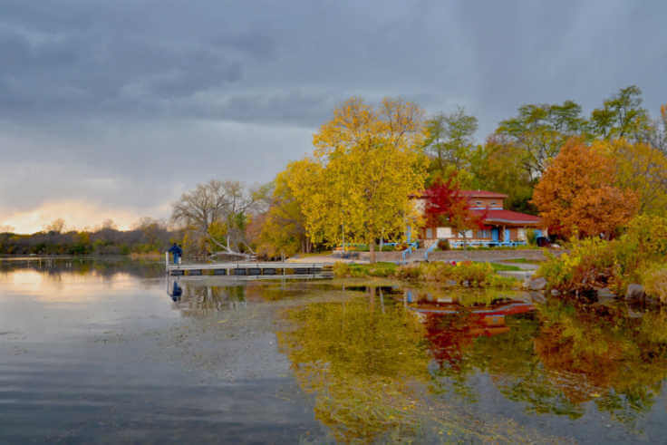 Fall color boat house Madison Wisconsin