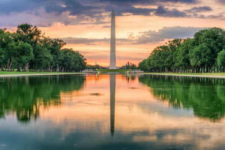 Washington Monument from the Reflecting Pool in Washingon DC National Mall