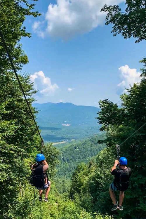 Ziplining at Attitash Resort