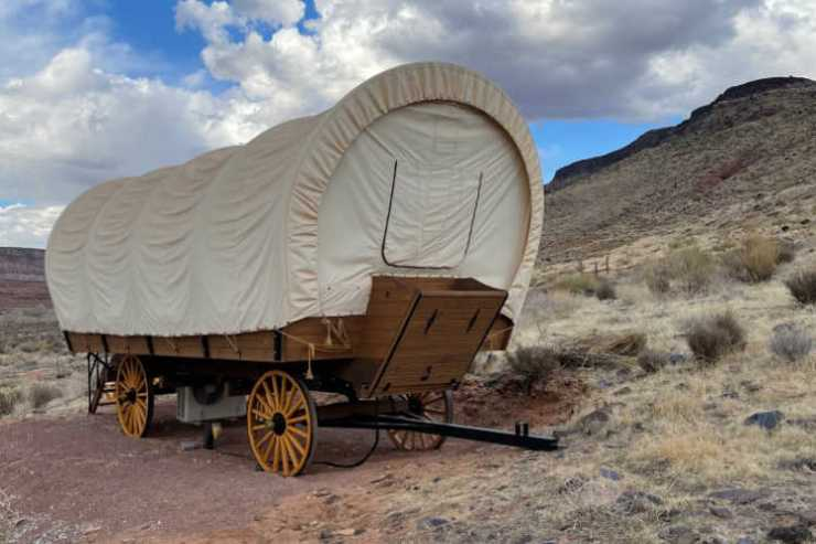 Covered wagon at Zion Wildflower Resort-Kids Are A Trip