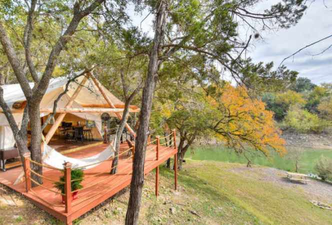 Safari tent on Pedernales River