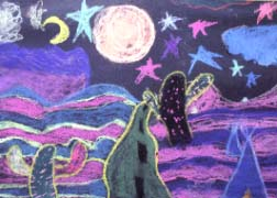 Night Road Chalk Drawing