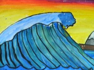 Hokusai style wave