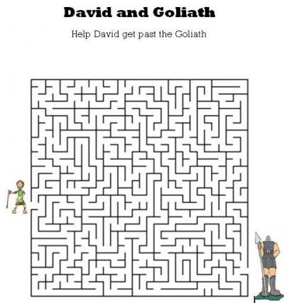 Kids Bible Worksheets-Free, Printable David and Goliath Maze