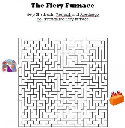 Kids Bible Worksheets-Free, Printable The Fiery Furnance Maze