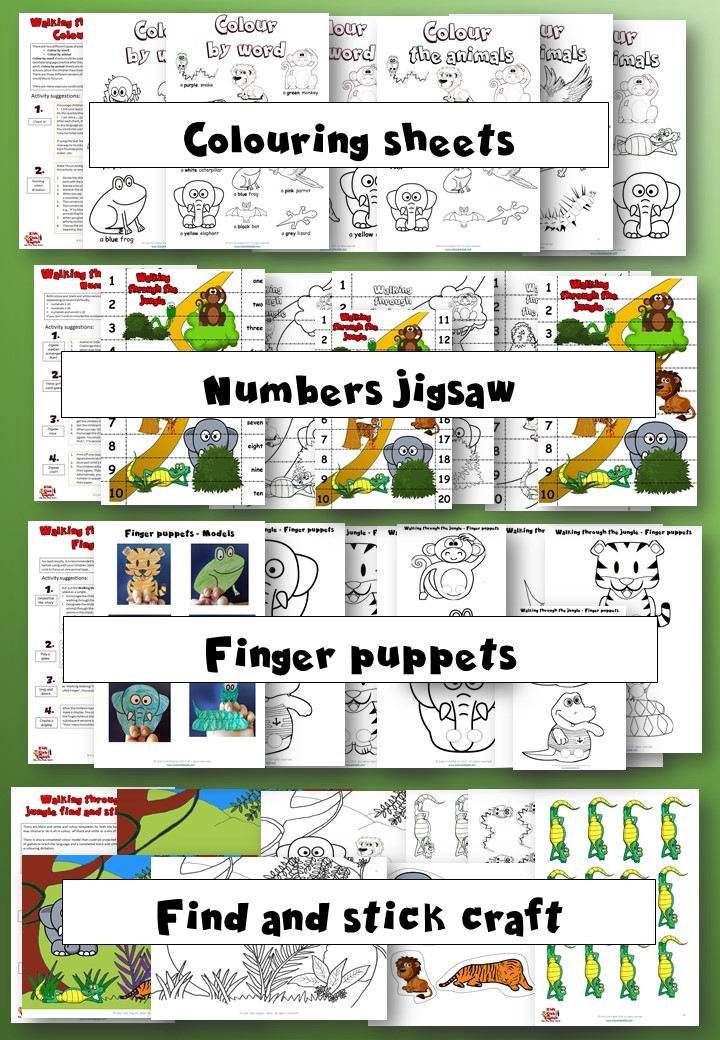 Walking through the jungle Activity pack - Learn english through craft - kids club english