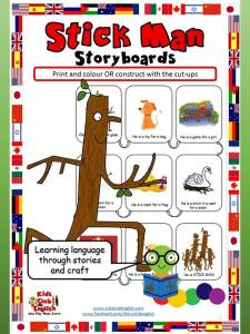 Stick Man storyboards - Learn English through stories and craft