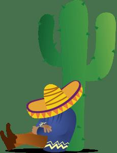 Mexican sleeping next to a cactus