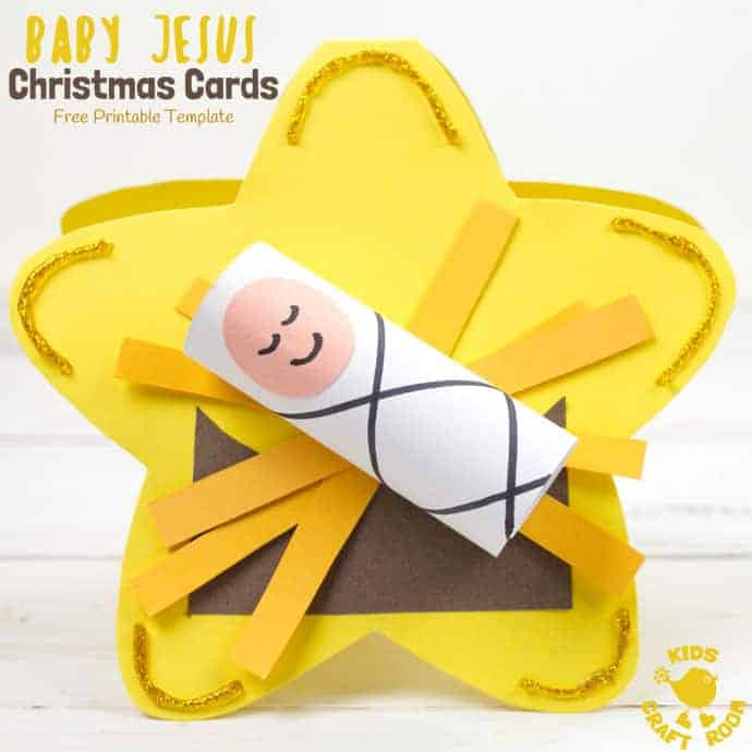 Free Printable Baby Jesus Christmas Card Template Kids
