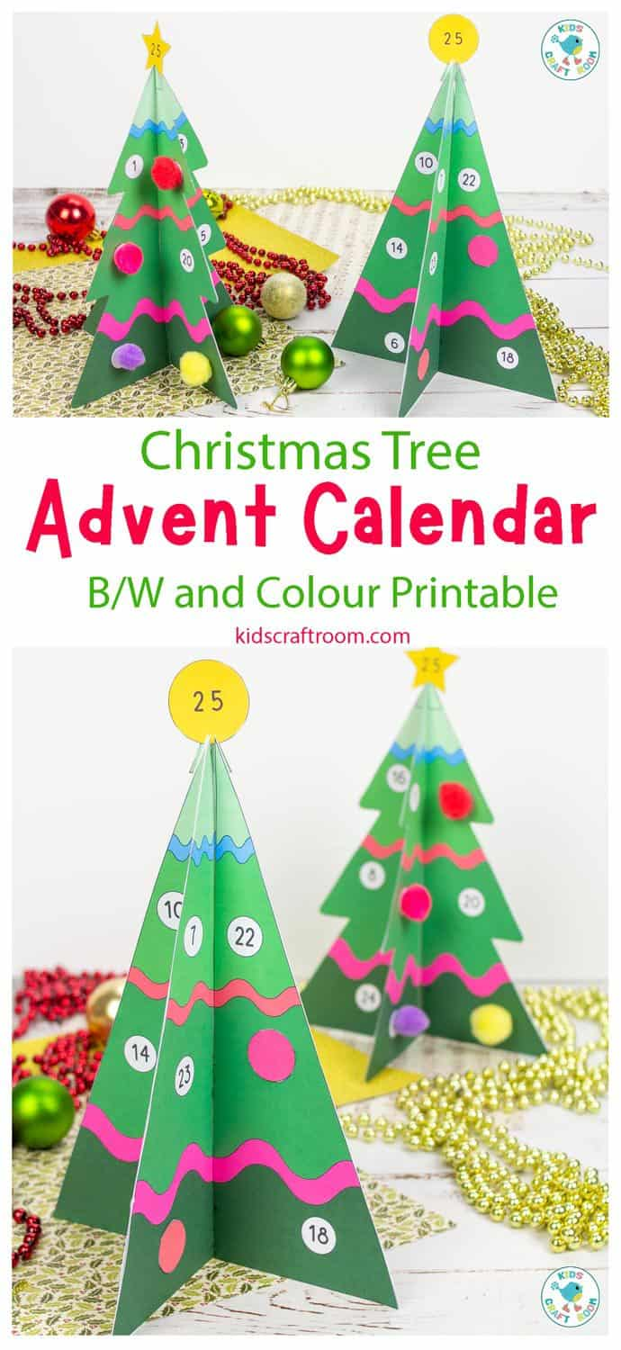 Printable 3D Christmas Tree Advent Calendar - Kids Craft Room