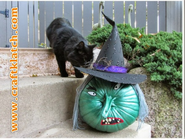 wicked-witch-painted-pumpkin