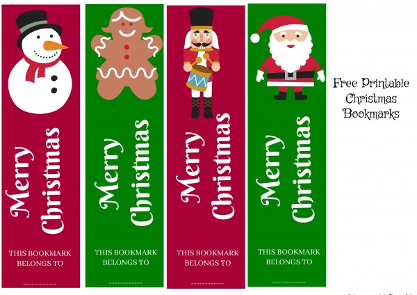 image about Printable Christmas Bookmarks referred to as Cost-free Xmas Bookmark Printable