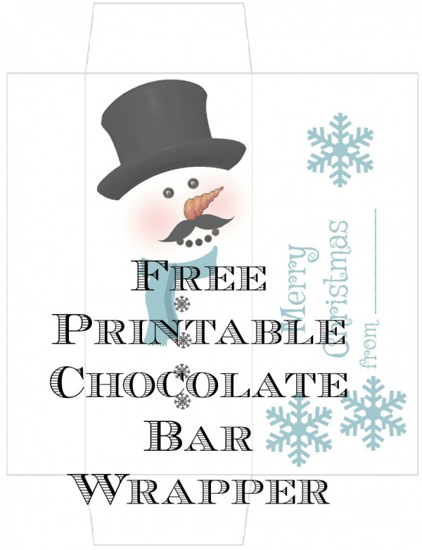 image regarding Free Printable Christmas Candy Bar Wrappers named Totally free Printable Snowman Sweet Wrapper Edible Crafts