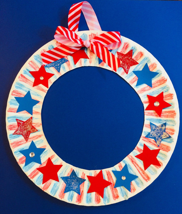 Star Wreath Paper Plate Craft For Kids