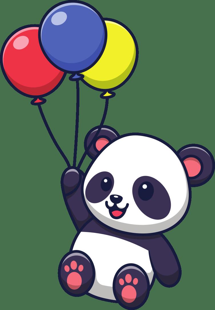 Panda holding balloons