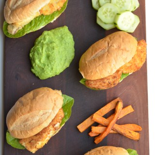 fish burgers with mushy peas