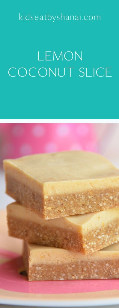 Lemon Coconut Slice. A creamy, sugar free, dairy free, raw dessert that your kids will love! No baking required and can be eaten straight from the freezer as a quick and easy sweet snack to have on hand without the guilt!